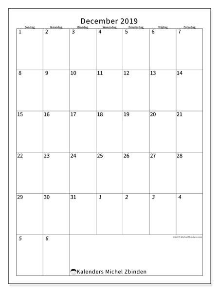 Kalender december 2019, 68ZZ. Gratis kalender om af te drukken.
