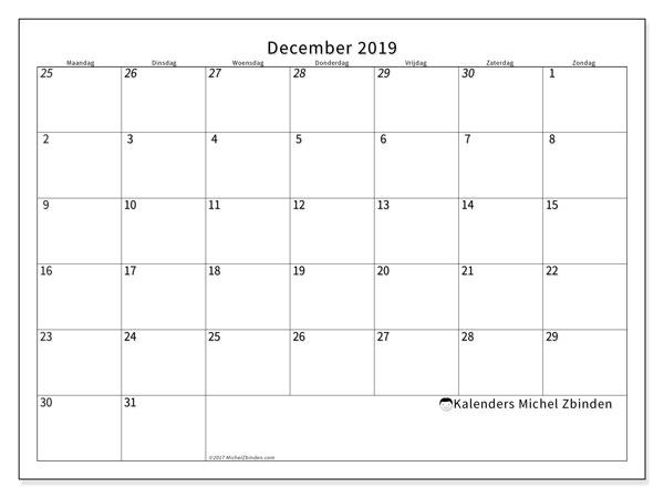 Kalender december 2019, 70MZ. Kalender voor de maand die gratis moet worden afgedrukt.