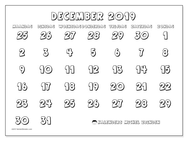 Kalender december 2019, 71MZ. Kalender om gratis af te drukken.