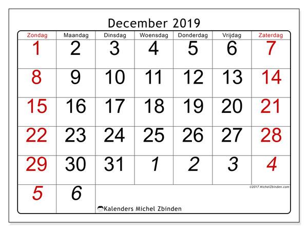 Kalender december 2019, 72ZZ. Maandkalender om gratis te printen.