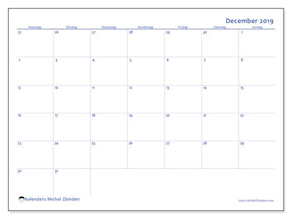 Kalender december 2019, 73MZ. Gratis kalender om af te drukken.