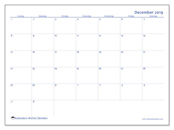 Kalender december 2019, 73ZZ. Kalender om gratis af te drukken.