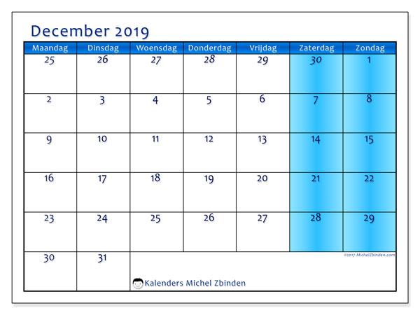 Kalender december 2019, 75MZ. Kalender voor de maand die gratis moet worden afgedrukt.