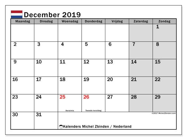 Kalender december 2019 met de feestdagen van Nederland. Gratis afdrukbare kalender.