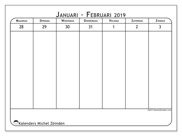 Kalender februari 2019, 43-1MZ. Schema om gratis te printen.