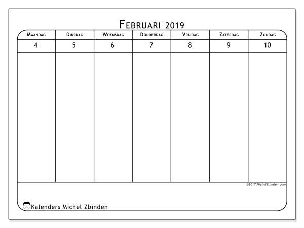 Kalender februari 2019, 43-2MZ. Kalender om gratis af te drukken.