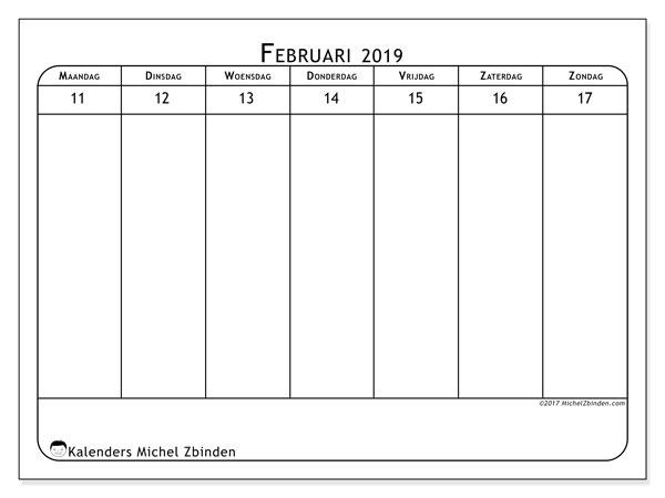 Kalender februari 2019, 43-3MZ. Gratis kalender om af te drukken.