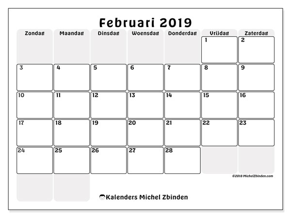 Kalender februari 2019, 44ZZ. Gratis printbare kalender.