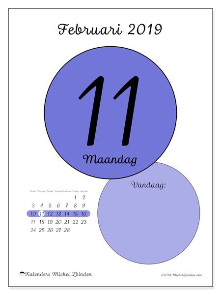 Kalender februari 2019, 45-11ZZ. Kalender voor de dag om gratis te printen.