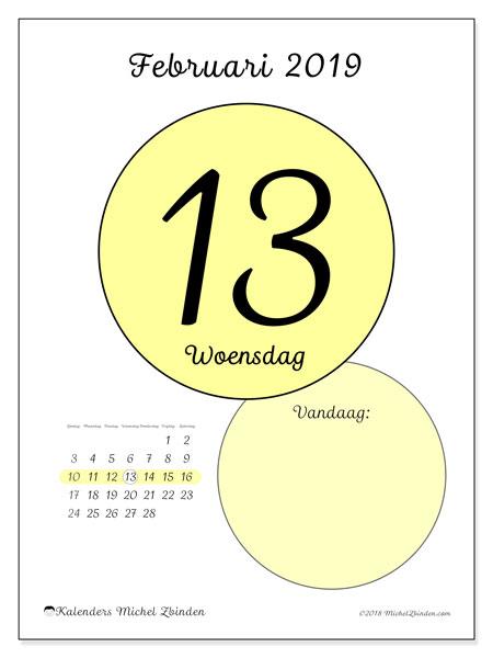 Kalender februari 2019, 45-13ZZ. Dagelijkse kalender om gratis te printen.