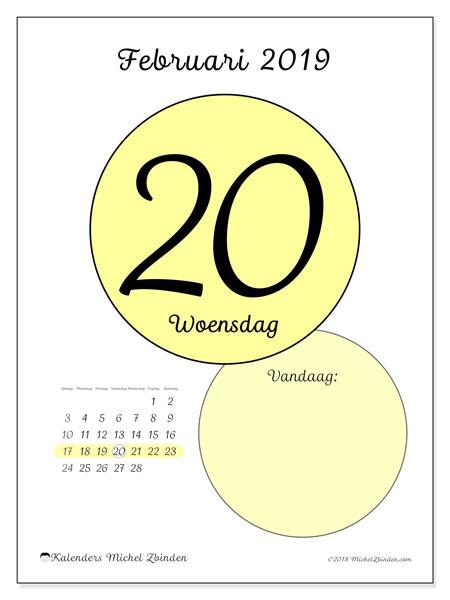 Kalender februari 2019, 45-20ZZ. Dagelijkse kalender om gratis te printen.