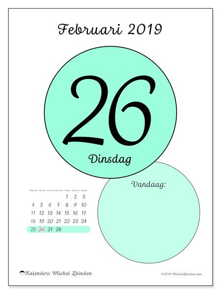 Kalender februari 2019, 45-26MZ. Kalender voor de dag om gratis te printen.