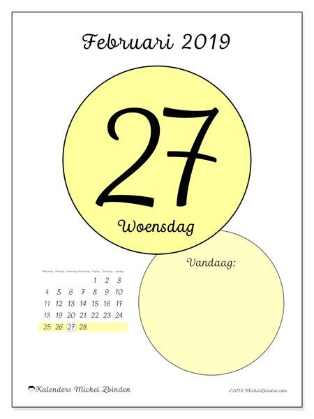 Kalender februari 2019, 45-27MZ. Kalender voor de dag om gratis te printen.