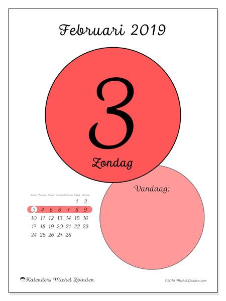 Kalender februari 2019, 45-3ZZ. Kalender voor de dag om gratis te printen.
