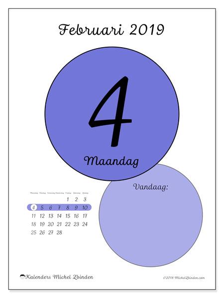 Kalender februari 2019, 45-4MZ. Dagelijkse kalender om gratis te printen.