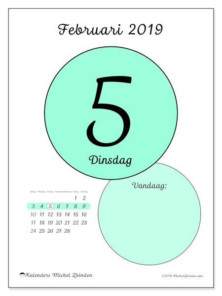 Kalender februari 2019, 45-5ZZ. Kalender voor de dag om gratis te printen.