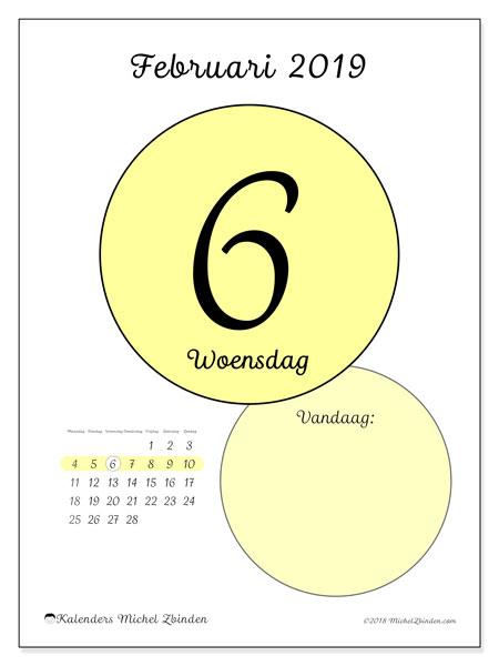 Kalender februari 2019, 45-6MZ. Dagelijkse kalender om gratis te printen.