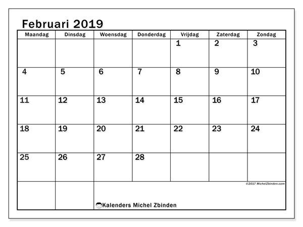 Kalender februari 2019, 50MZ. Maandkalender om gratis te printen.
