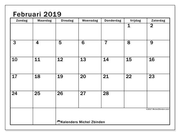 Kalender februari 2019, 50ZZ. Kalender voor de maand die gratis moet worden afgedrukt.