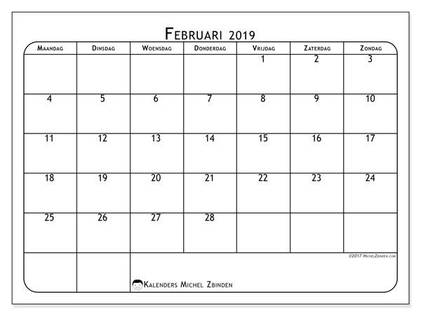 Kalender februari 2019, 51MZ. Gratis kalender om af te drukken.