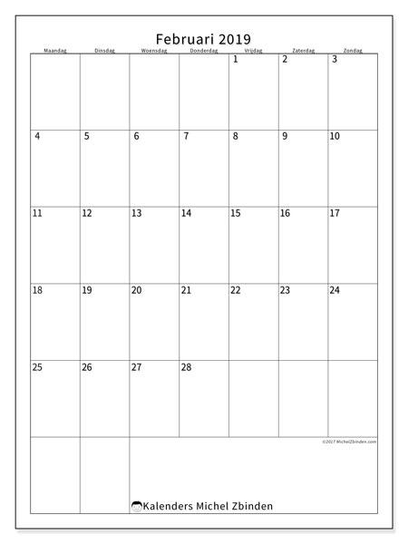 Kalender februari 2019, 52MZ. Gratis kalender om af te drukken.