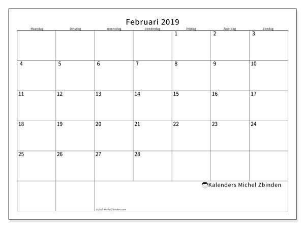 Kalender februari 2019, 53MZ. Schema om gratis te printen.