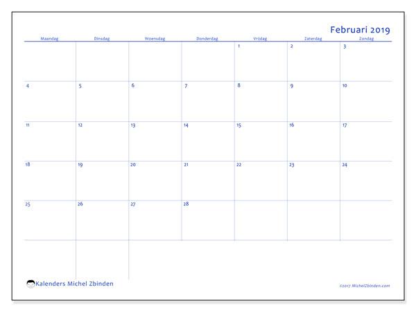 Kalender februari 2019, 55MZ. Kalender voor de maand die gratis moet worden afgedrukt.