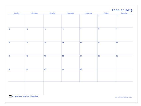 Kalender februari 2019, 55ZZ. Agenda om gratis te printen.