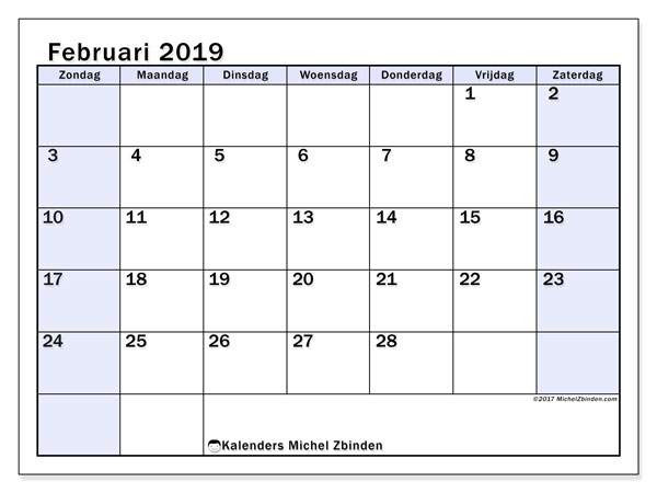 Kalender februari 2019, 57ZZ. Agenda om gratis te printen.
