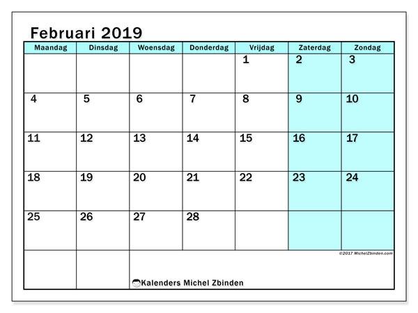Kalender februari 2019, 59MZ. Kalender voor de maand die gratis moet worden afgedrukt.