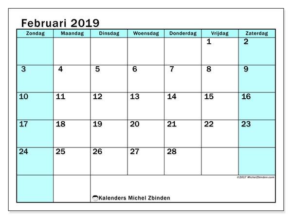 Kalender februari 2019, 59ZZ. Maandkalender om gratis te printen.