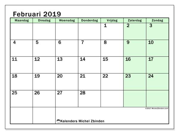 Kalender februari 2019, 60MZ. Gratis afdrukbare kalender.