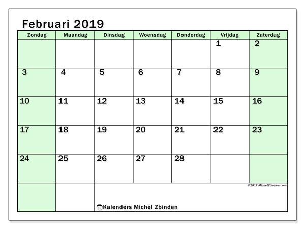 Kalender februari 2019, 60ZZ. Kalender om gratis te printen.