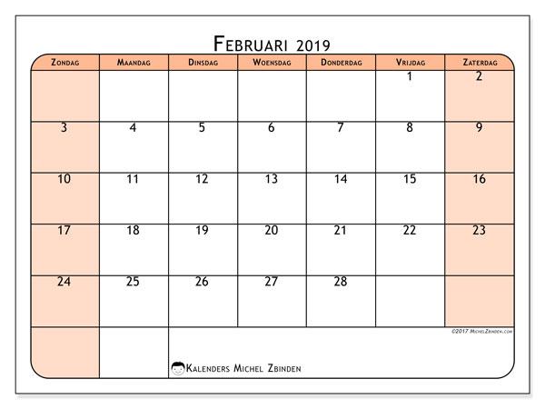 Kalender februari 2019, 61ZZ. Maandkalender om gratis te printen.