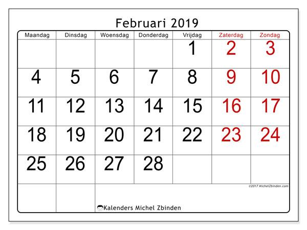 Kalender februari 2019, 62MZ. Schema om gratis te printen.