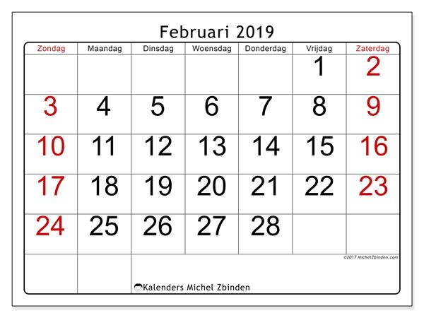 Kalender februari 2019, 62ZZ. Kalender voor de maand die gratis moet worden afgedrukt.