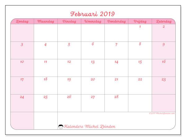 Kalender februari 2019, 63ZZ. Gratis afdrukbare kalender.