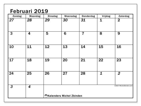 Kalender februari 2019, 66ZZ. Agenda om gratis te printen.