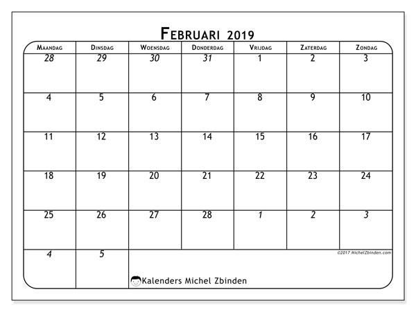 Kalender februari 2019, 67MZ. Agenda om gratis te printen.