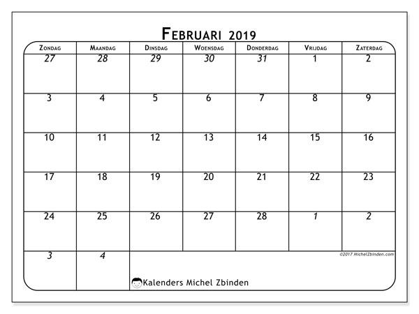 Kalender februari 2019, 67ZZ. Maandkalender om gratis te printen.