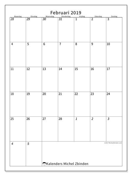 Kalender februari 2019, 68MZ. Maandkalender om gratis te printen.