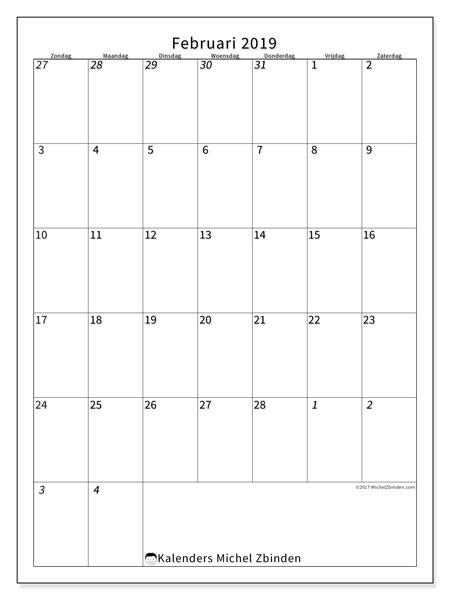 Kalender februari 2019, 68ZZ. Gratis kalender om af te drukken.