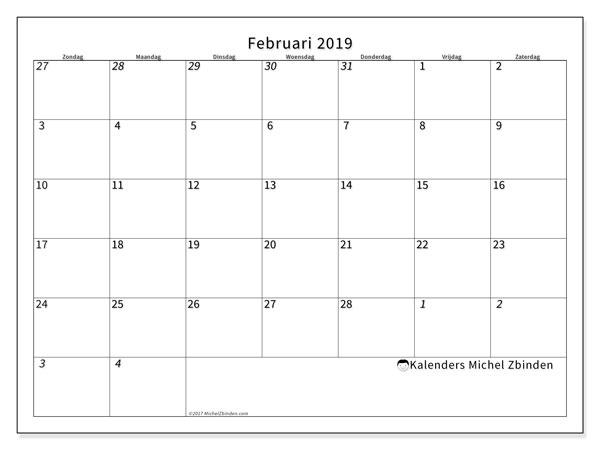Kalender februari 2019, 70ZZ. Agenda om gratis te printen.