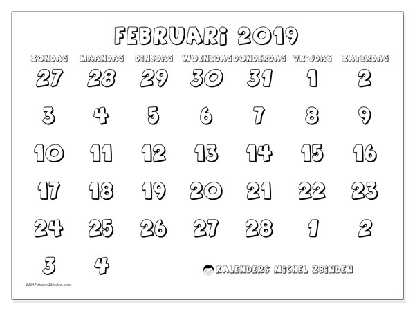 Kalender februari 2019, 71ZZ. Kalender voor de maand die gratis moet worden afgedrukt.