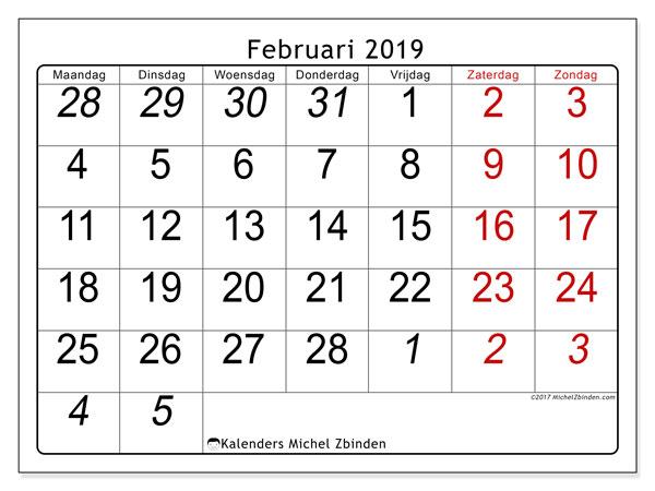 Kalender februari 2019, 72MZ. Agenda om gratis te printen.