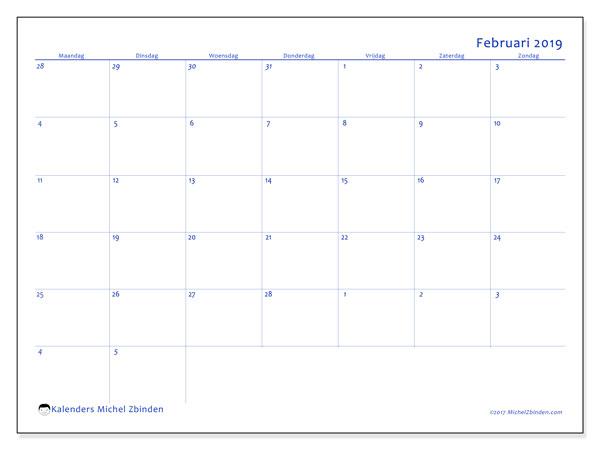 Kalender februari 2019, 73MZ. Kalender om gratis af te drukken.