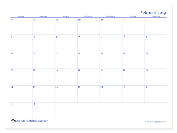 Kalender februari 2019, 73ZZ. Kalender om gratis af te drukken.
