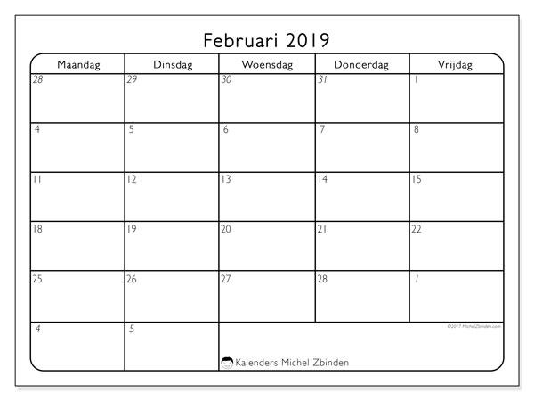 Kalender februari 2019, 74MV. Gratis afdrukbare kalender.