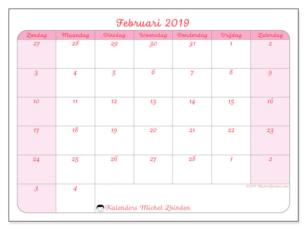 Kalender februari 2019, 76ZZ. Maandkalender om gratis te printen.