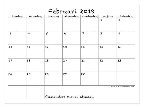 Kalender februari 2019, 77ZZ. Kalender om gratis af te drukken.